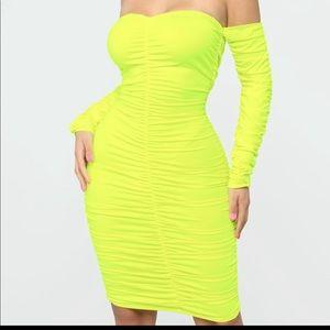 New! Neon Yellow Bardot Ruched Midi Stretch Dress
